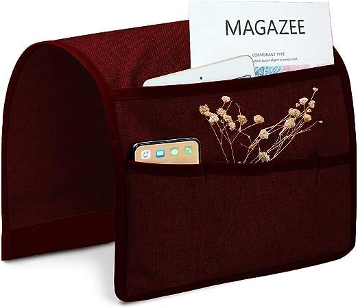 3 Piece BURGUNDY Arm Rest Cover Organizer Sofa Chair Remote Holder Storage