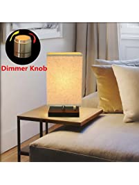 bedside lamp kingso dimmable e26e27 retro nightstand lamp minimalist solid wooden base fabric