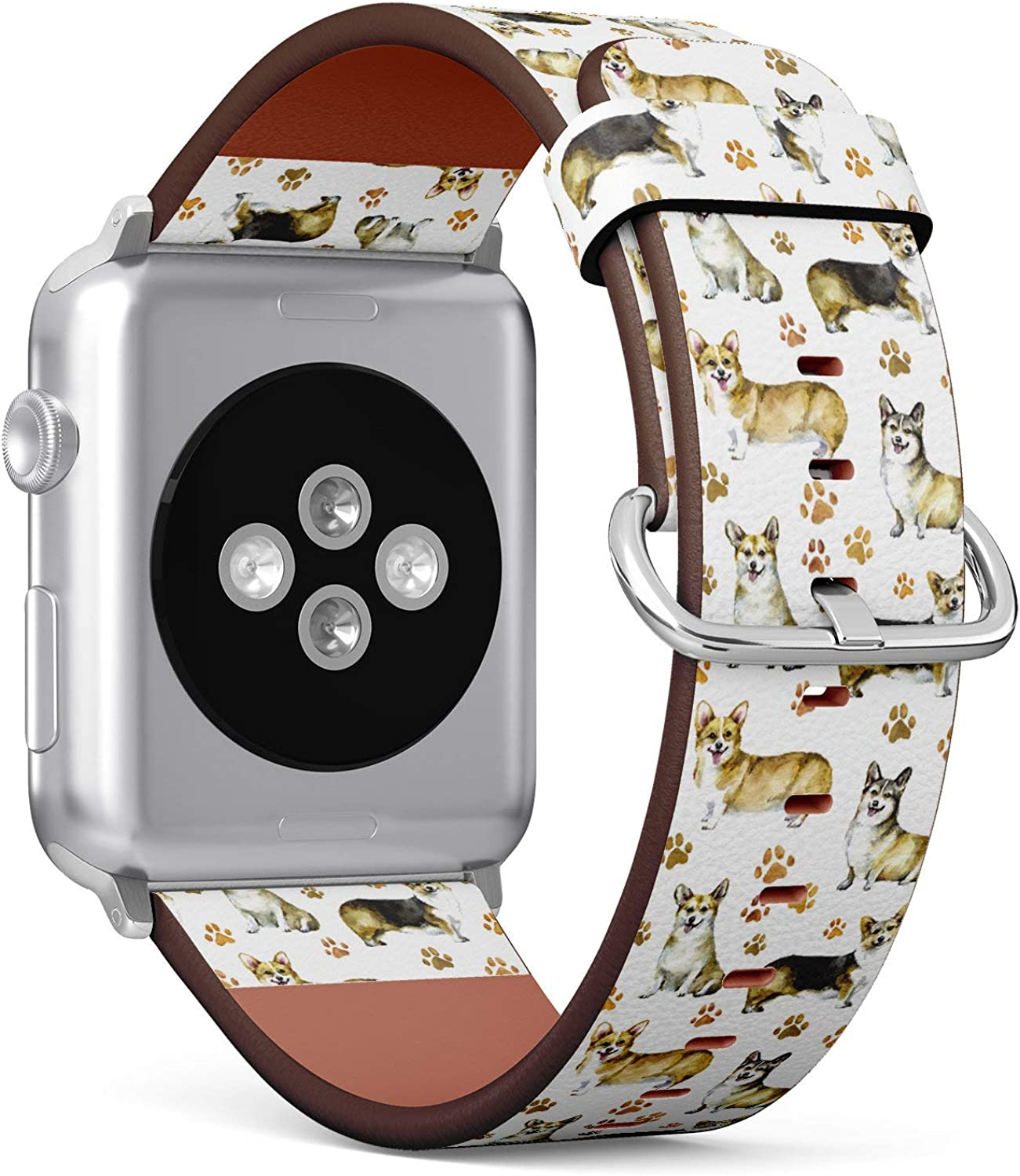 (Lovely Corgi and Paw Footprint Pattern) Patterned Leather Wristband Strap Compatible with Apple Watch Series 4/3/2/1 gen,Replacement of iWatch 38mm / 40mm Bands