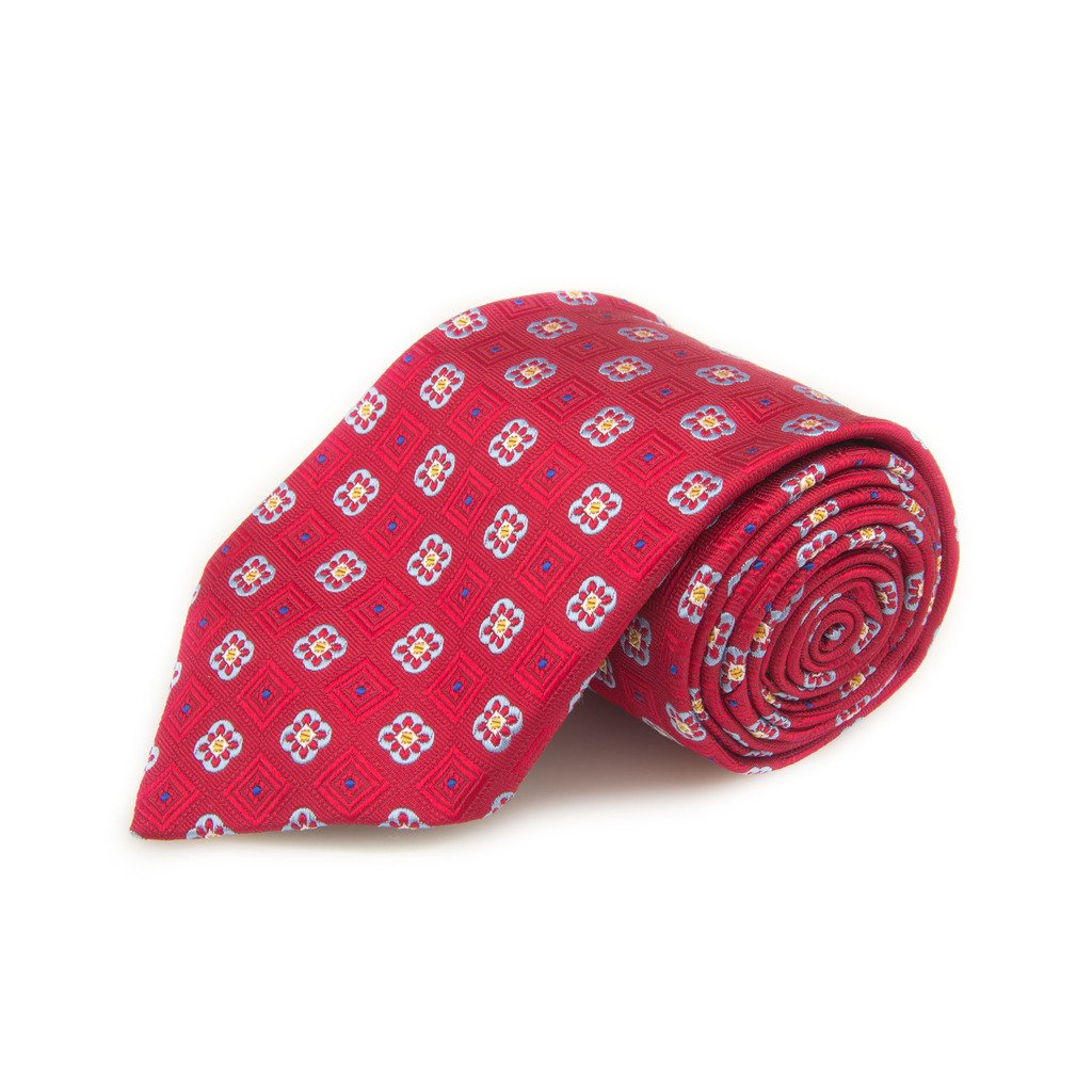 Robert Talbott Best Of Class Red And Light Blue Fancy Woven Silk Tie
