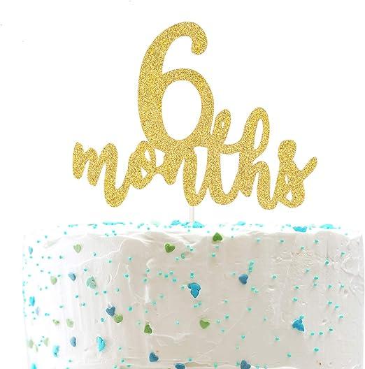 Amazon.com: Decoración para tarta de 6 meses, media 1/2 ...