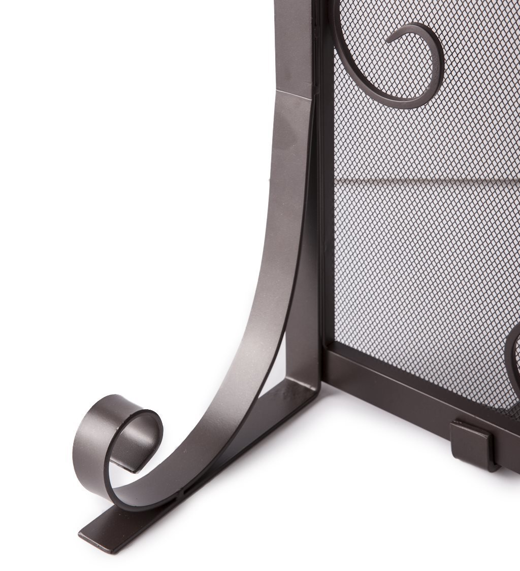 Small Crest Flat Guard Fireplace Screen, Solid Wrought Iron Frame with Metal Mesh, Decorative Scroll Design, Free Standing Spark Guard 38 W x 31 H x 13 D, Black Finish