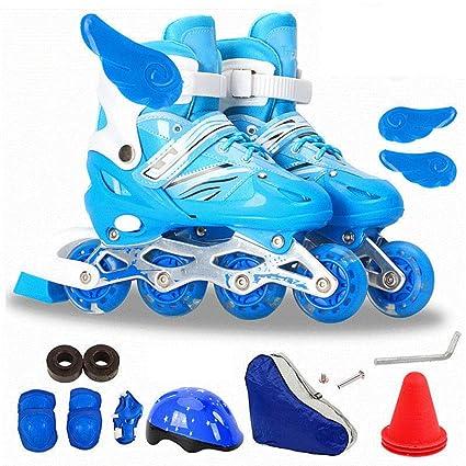 PIAOL Skate Adulto De Una Hilera Patines De Ruedas para Principiantes Flash Seguridad,Blue-