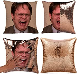 Merrycolor The Office Throw Pillow Cover Magic Reversible Dwight Schrute Sequin Cushion Cover Decorative Pillowcase That Change Color (L The Office-Gold Sequins)