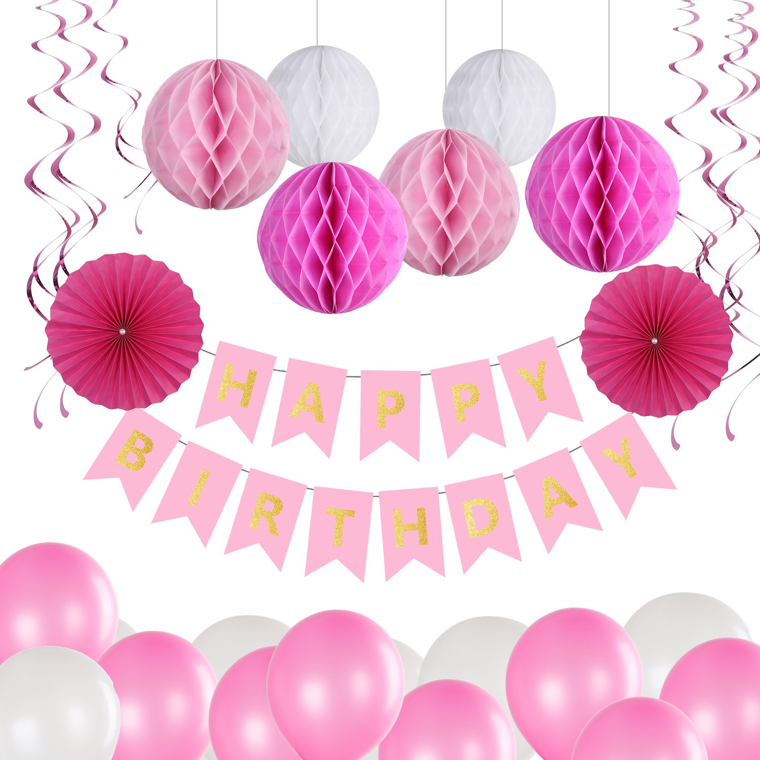 Sector Paper Flower and 10 Hanging Swirl Decorations for Girls Boys Bliqniq Birthday Party Decorations Kit Balloons Paper Honeycomb Balls 40 Deco Supplies with Happy Birthday Banner Flags