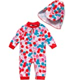 BONVERANO Baby Girl Bathing Suit Long Sleeve UPF 50+ Sun Protection Come with a Hats