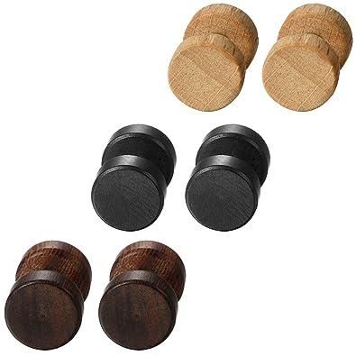 8ab35624f393 Aroncent Aretes Pendientes de Acero Inoxidable Quirúrgico y Madera para  Oído Dumbbells Aretes de Perno Forma