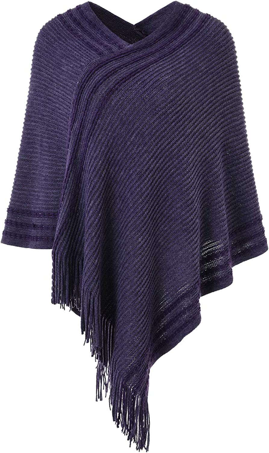 Ferand Womens Casual Striped Knit Poncho Sweater with Fringes