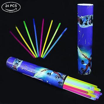 AK KYC - Palillos de luz Varitas Luminosas Fluorescentes-Kit de Luz Fluorescentes Brillantes Diversos Colores para Fiestas, Cumpleaños, Bodas (12 unidades, 30 cm), diseño de barcelas, colores surtidos: Amazon.es: Juguetes y juegos