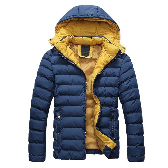 SODIAL (R) 2014 Hombres Caliente Abrigo con capucha sudadera abrigo anorak invierno chaqueta abajo azul marino - XL: Amazon.es: Ropa y accesorios