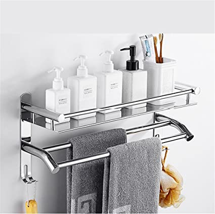 Toallero acero inoxidable 304 toallero de 2 capas sin golpe baño estante  baño de 3 pisos 137b0be9c9ee
