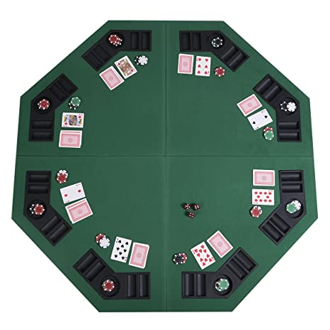 Giantex 48u0026quot; Folding Poker Table Top Green Octagon 8 Player Four Fold  Folding Poker Table