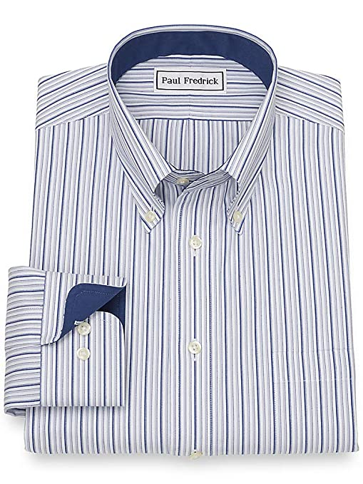 1940s Style Mens Shirts, Sweaters, Vests Paul Fredrick Mens Slim Fit Non-Iron Cotton Stripe Button Cuff Dress Shirt Grey/Navy $89.50 AT vintagedancer.com