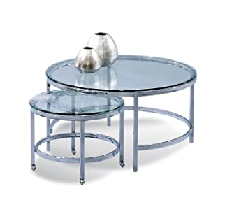 Glass Top Round Cocktail W Nesting Table On Casters   Patinoire