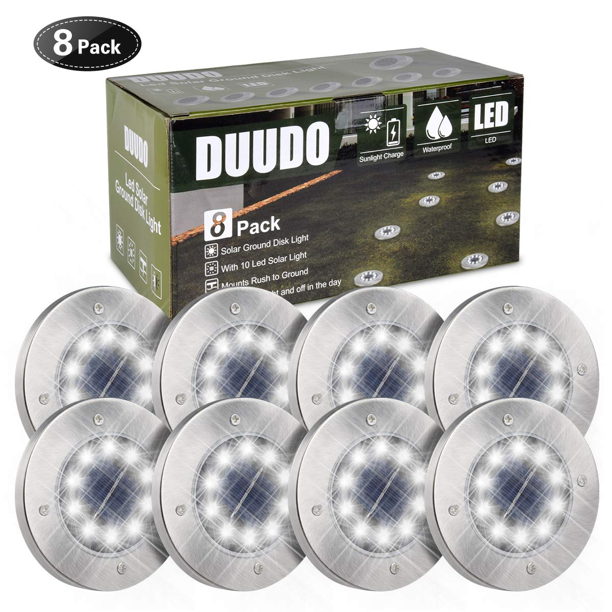 DUUDO Solar Ground Light, Upgraded 10 LED Garden Pathway Outdoor Waterproof in-Ground Lights, Disk Lights (Cold White, 8 Packs) by DUUDO