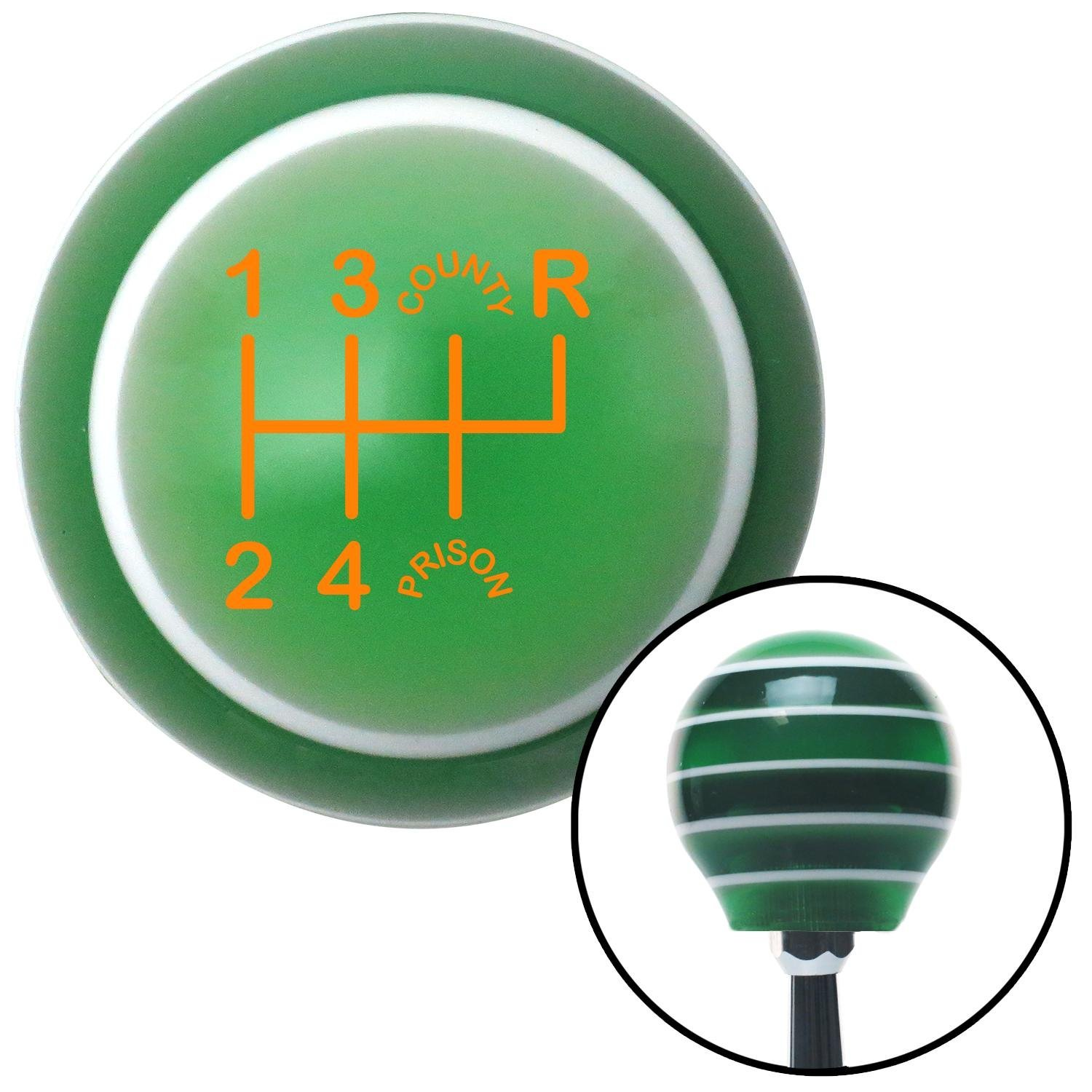 American Shifter 127440 Green Stripe Shift Knob with M16 x 1.5 Insert Orange Shift Pattern CP26n