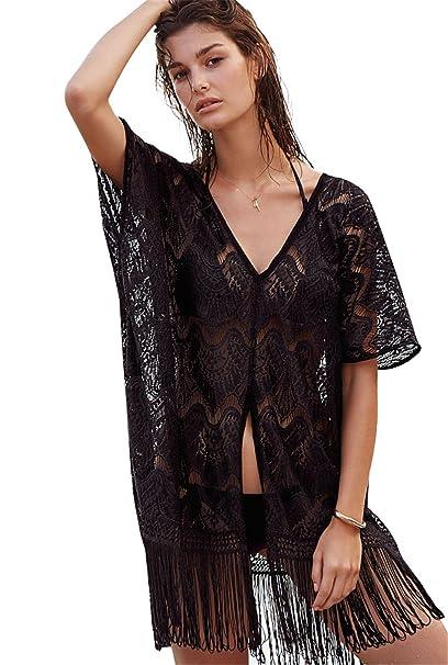 50d525f4b7 Moxeay Swimwear Bikini Cover up Crochet Kaftan Shirt Dress Beach Wear Tops  (Black) at Amazon Women s Clothing store