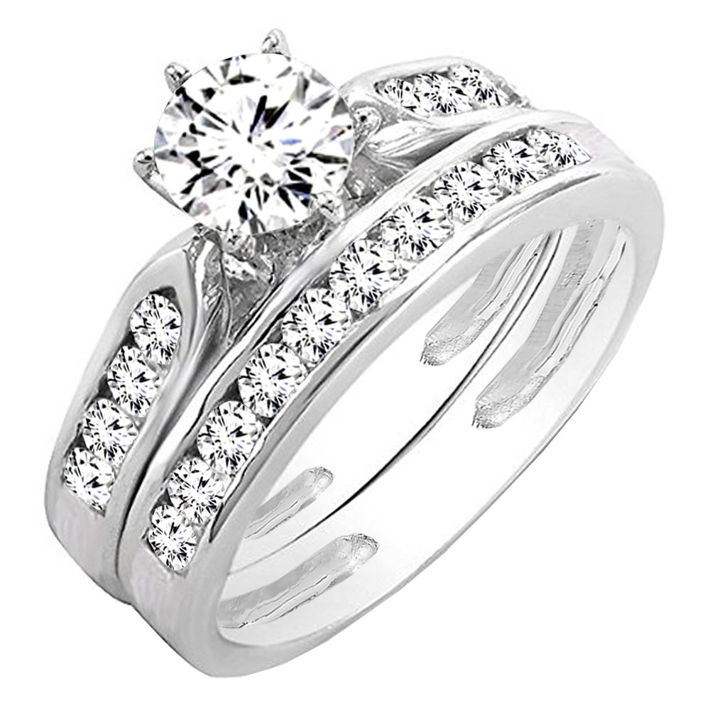 0.95 Carat (ctw) 14K White Gold Round Cut Diamond Bridal Engagement Ring Set 1 CT (Size 5.5)