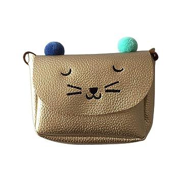 Bolsos Cruzados para niños niñas - Dxlta Cute Cuero de PU Mini Bolsas de impresión de gato: Amazon.es: Equipaje