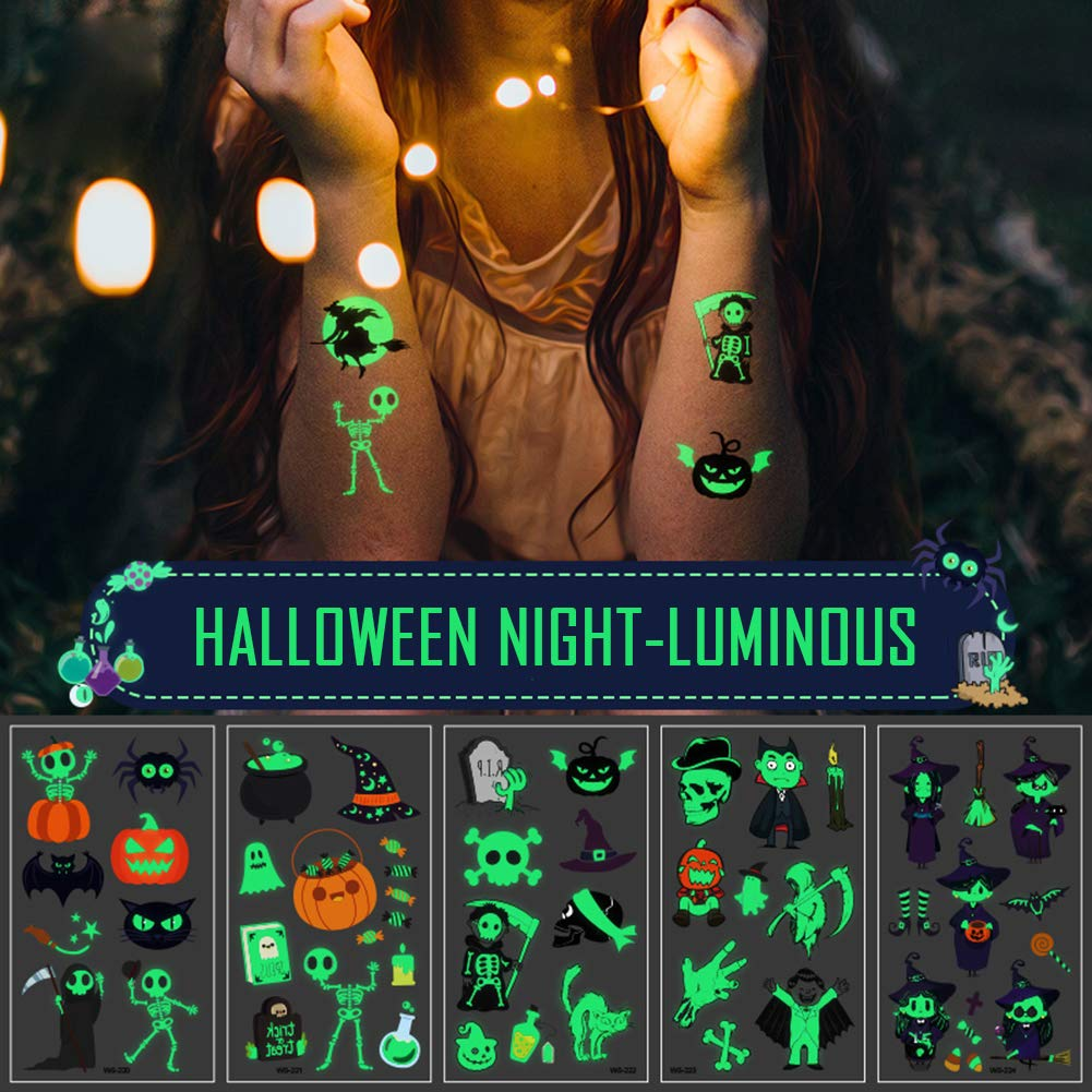 Oottati 10 Sheets Halloween Noctilucent Glow in the Dark Fluorescence Pumpkin Skull Temporary Tattoo Stickers for Kids