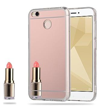 LXHGrowH Funda Espejo Silicona Gel TPU para Xiaomi Redmi Note 5A / Xiaomi Redmi Note 5A Prime (5,5 Pulgadas) Color Rosado