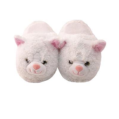 Kid's/Children's Non-Slip Plush Animal Character Slippers (White Kitty): Clothing