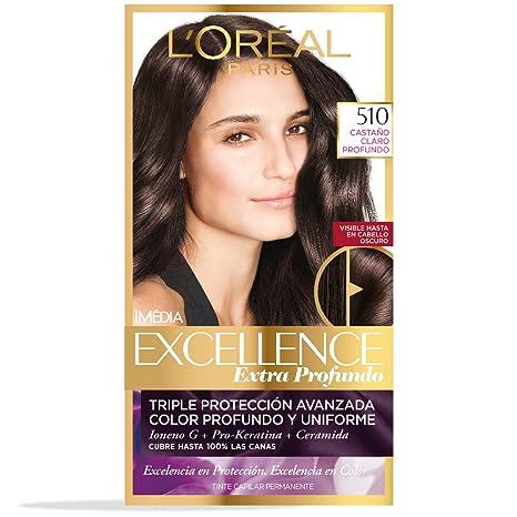 Tinte Capilar Permanente Excellence Extra Profundos L Oréal Paris 510 Castaño  Claro Cenizo 57ffaf6992ec
