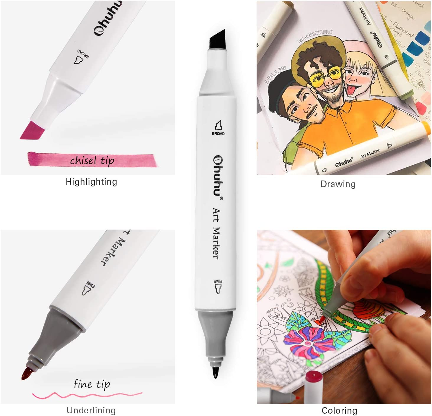 Ohuhu Dual Tip Adult Coloring Book Calligraphy and Illustration 120-Color Alcohol Brush Marker Set Brush /& Chisel Sketch Marker Alcohol-Based Art Markers Bonus 1 Blender for Sketching Back to School