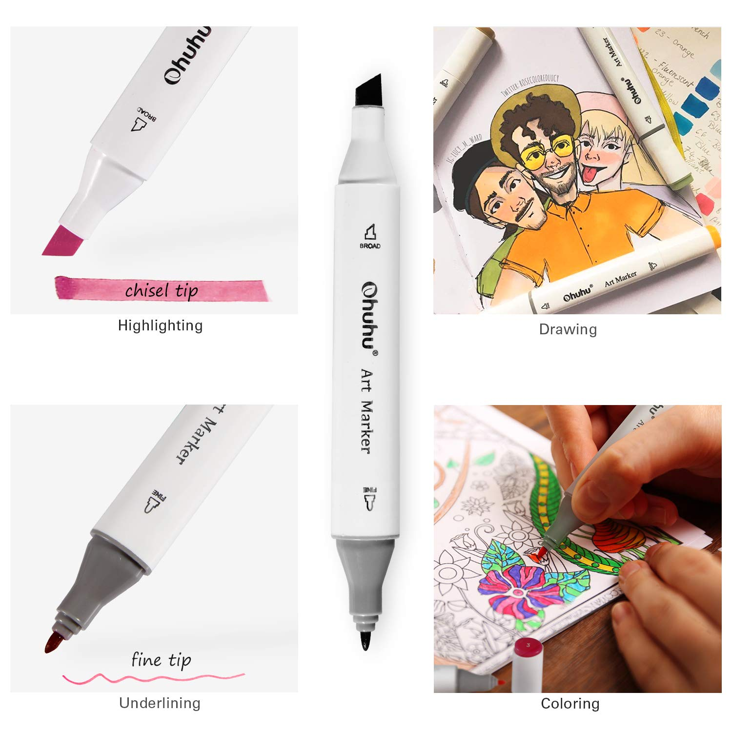 Amazon Ohuhu 40 Color Dual Tips Permanent Marker Pens Art Markers For Kids Highlighter Pen With Carrying Case Drawing Sketching Adult Coloring