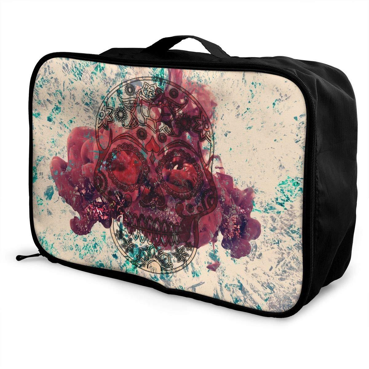 Travel Luggage Duffle Bag Lightweight Portable Handbag Skull Large Capacity Waterproof Foldable Storage Tote