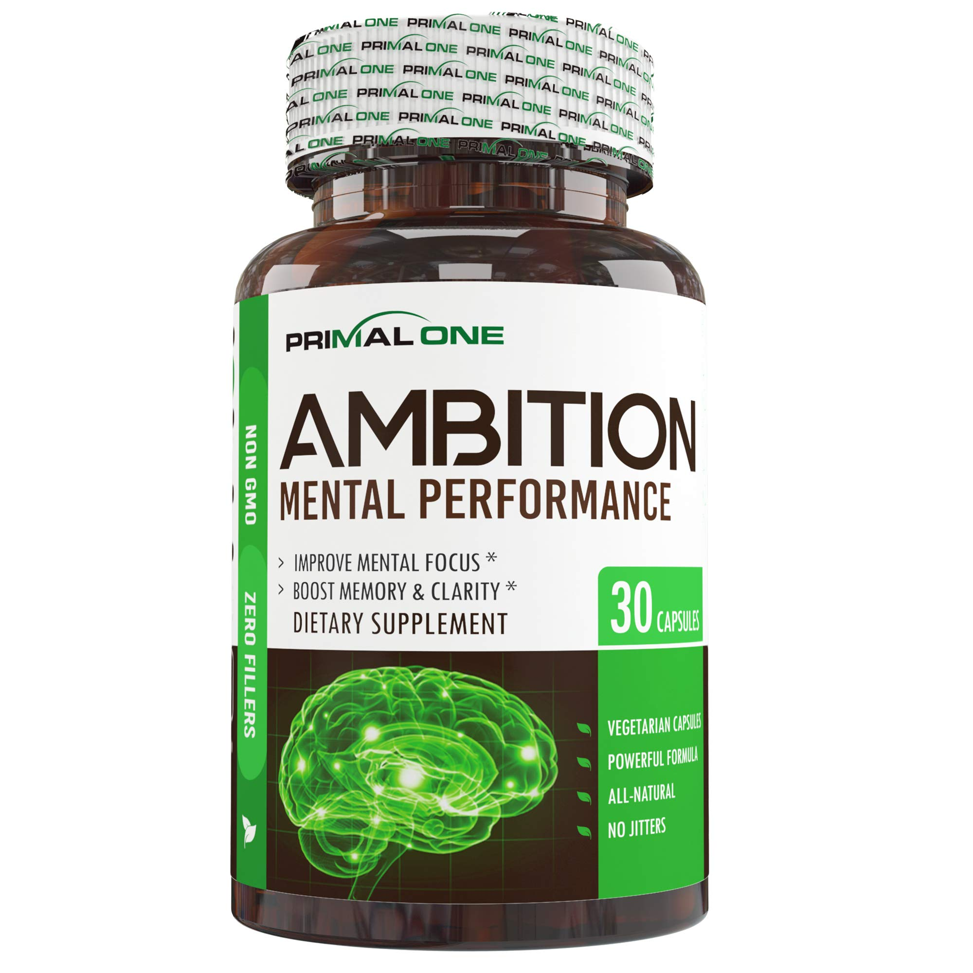 Ambition Nootropic Brain Booster Supplement - Enhance Focus, Boost Memory & Clarity - Achieve Peak Mental Performance w/CDP Choline, Neurofactor, More - 30 Natural Veggie Pills by Primal One (Image #2)