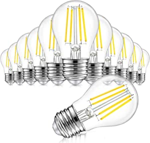 12-Pack Dimmable Globe A15 LED Bulbs 60W Equivalent, 6W Vintage E26 Edison Bulb 5000K Daylight White, AC 120V, Great for Ceiling Fan, Bathroom Vanity Fixtures