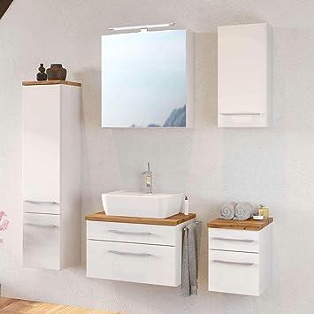 Lomadox Badmöbel Set 60cm Matt Weiß Waschtisch Unterschrank Inkl