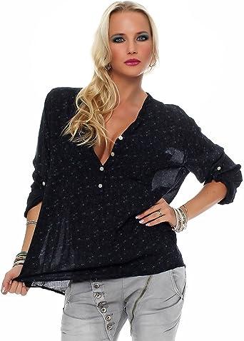 ZARMEXX bella camicia a maniche lunghe Fisher regular fit leggera a maniche lunghe camicetta di estate tunica tenera floreale