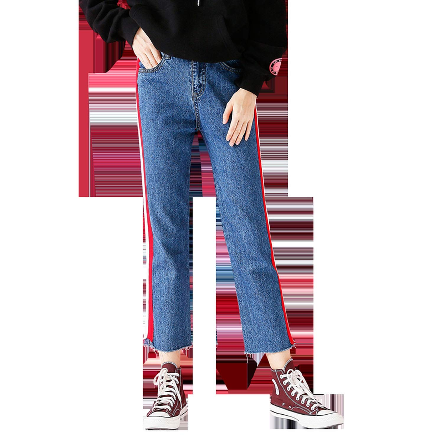 Dreamedge Casual Jeans Woman Autumn Contrast Color Striped Denim Fashion Ankle-Length Jeans Trouser,Blue,30