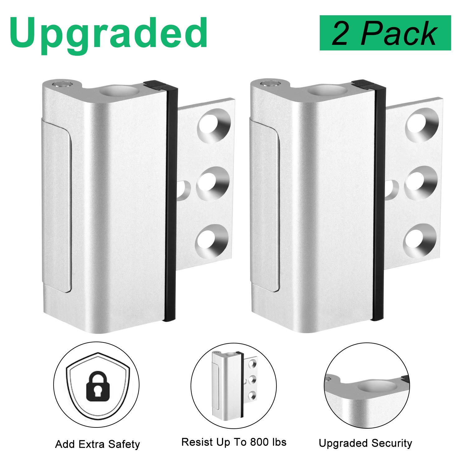 Door Reinforcement Lock, Upgrade Design Easy Open Childproof Security Door Lock with 3'' Stop Withstand 800 lbs for Inward Swinging Door, Safety Security Protection for Your Home (Silver-2 Pack)