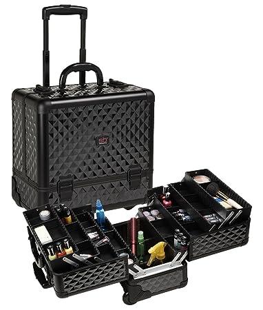 Amazon.com : Seya Professional Rolling Cosmetic Makeup Case w/ 6 Trays - Black Diamond (All Black Diamond) : Makeup Train Cases : Beauty