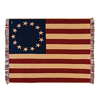 vhc brands old glory throw woven 50x60 - Vhc Brands