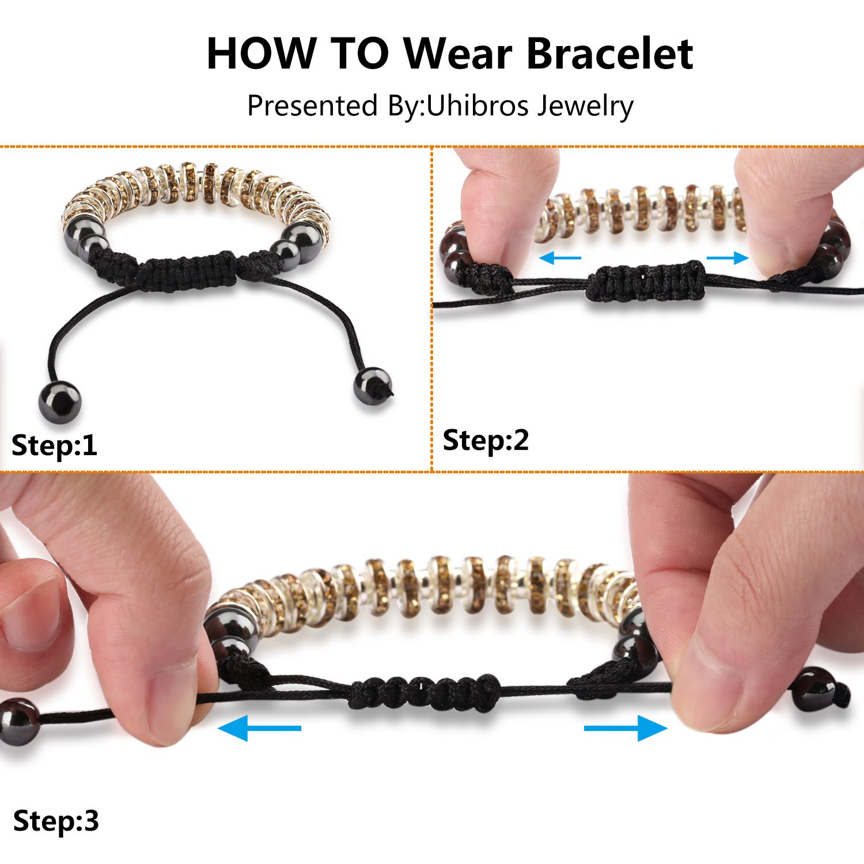 Zircon Stoppers Macrame Bracelet,UHIBROS Multicolor Crystal Unisex Adjustable Fashion Braid Bracelet Crystal Yellow Zircon Stoppers Beads Braiding Bangle For Men