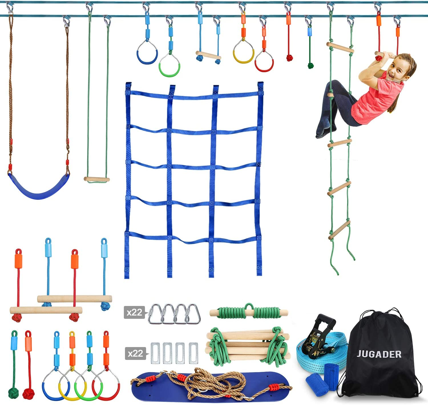 Jugader Ninja Warrior Obstacle Course for Kids - 2X50FT Ninja Slackline with Climbing Net, Swing, Ladder, Long & Short Monkey Bars, Gym Rings, Rope Knots (Double Line Design)