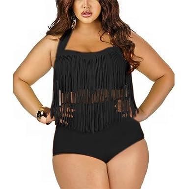 06a9bfc871fcc Olive Tayl Women s Plus Size High Waist Two Piece Fat Tassel Swimsuits  Bikini Set 2BlackAsia L