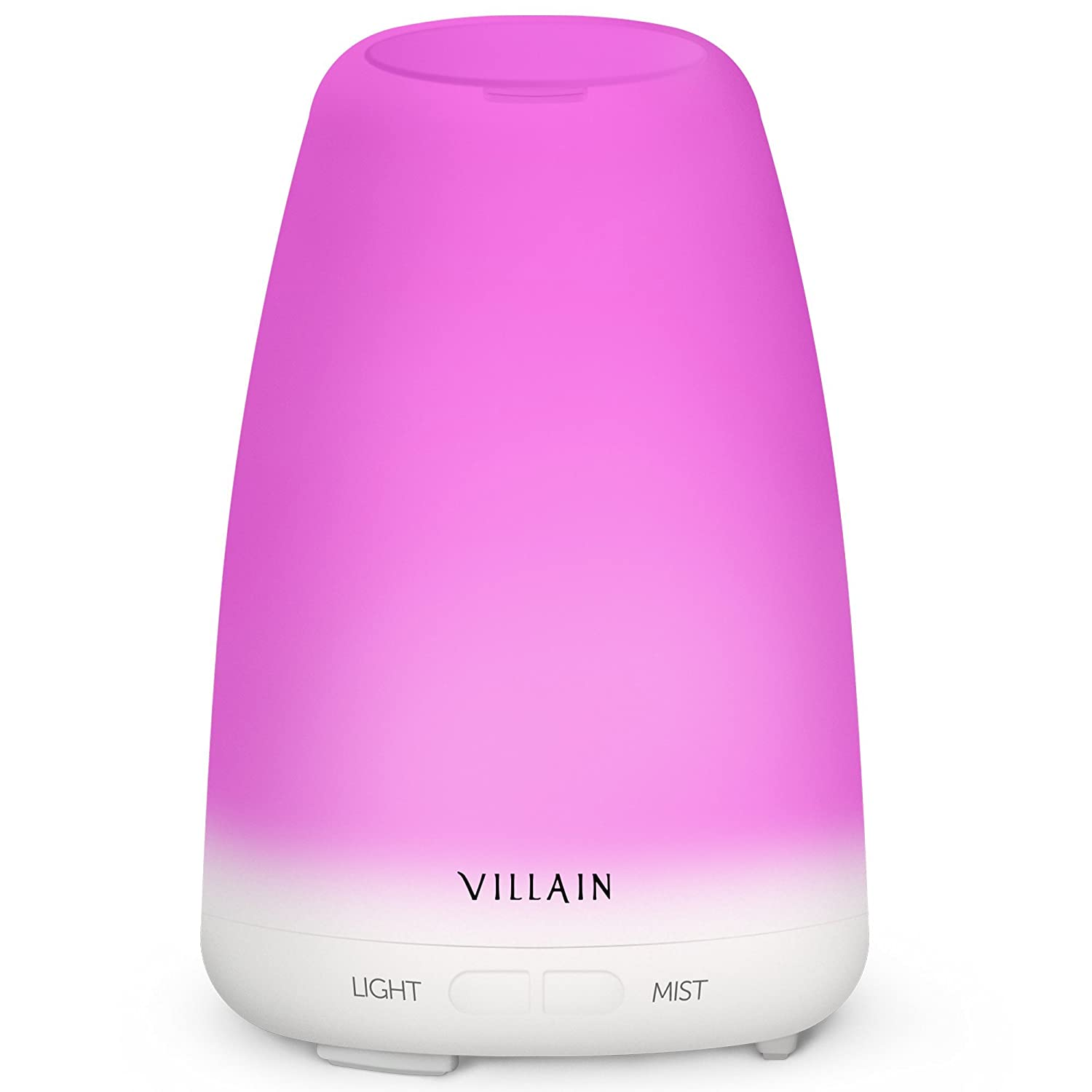 2017 Villain Essential Oil Diffuser - Beautiful Aromatherapy Ultrasonic Cool Mist Humidifier - No Noise & 7 Changing LED Lights - Waterless Auto Shut-Off Villain Technologies LP
