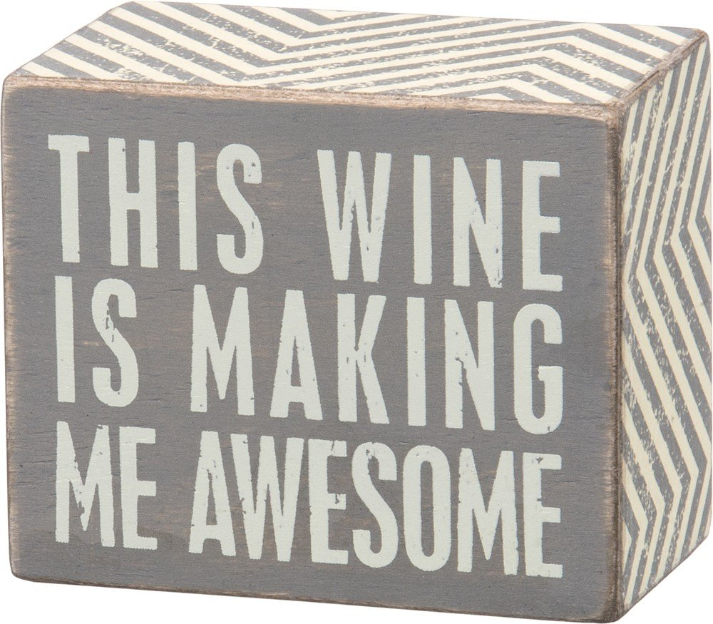 A Small Glass of Wine 5 x 3 5 x 3 Primitives by Kathy 30415 Polka Dot Trimmed Box Sign