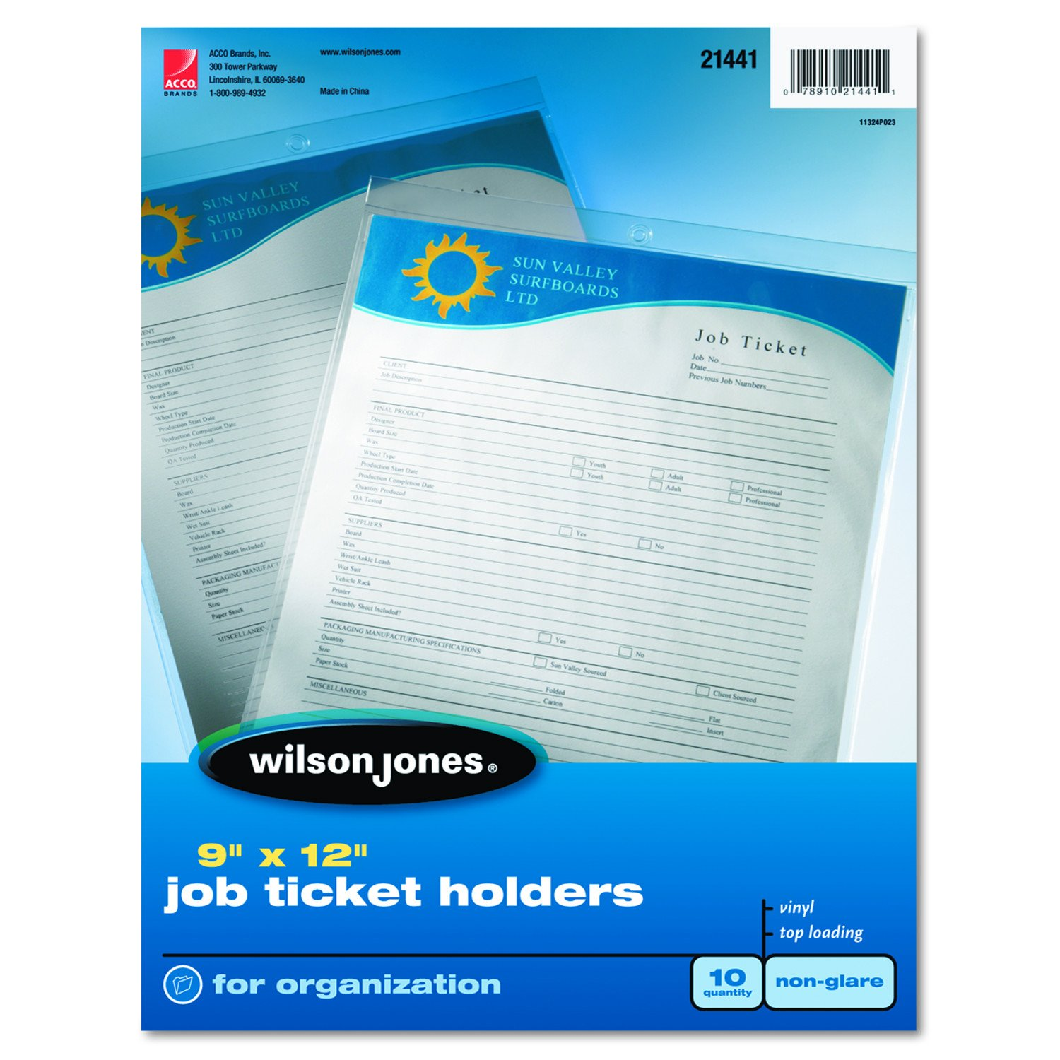 Wilson Jones Ticket Holder, Non-Glare Finish, Clear Front/Frosted Back, 10 per Pack (21441) ACCO Brands