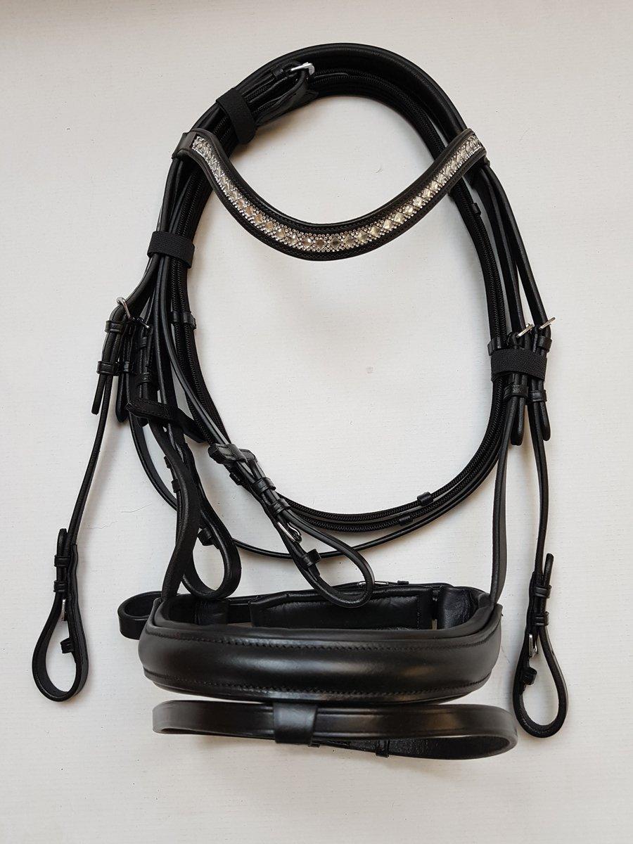 nilo Trense Hanna, Trensenzaum schwarz mit Strass-Stirnband inkl. Zügel, Größe Cob/Vb Größe Cob/Vb