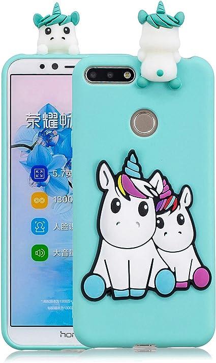 Funluna Cover Huawei Y6 2018 / Honor 7A, 3D Unicorno Modello Ultra Sottile Morbido TPU Silicone Custodia Antiurto Protettiva Copertura Flessibile ...