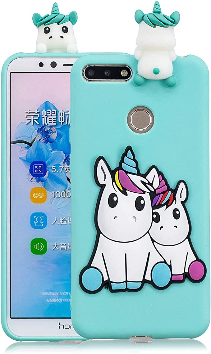 Funluna Coque Huawei Y6 2018 / Honor 7A, 3D Licorne Motif Ultra Fine TPU Housse Flexible Souple Silicone Etui Coque de Protection pour Huawei Y6 2018 ...