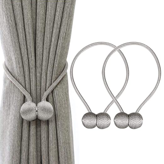 53ba3f3dd6b57 IHC Window Curtain Tiebacks Clips VS Strong Magnetic Tie Band Home Office  Decorative Drapes Weave Holdbacks Holders European Style 1 pair (Grey)