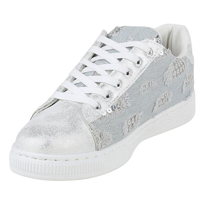 Damen Schuhe Sneakers Low Lack Turnschuhe Plateau Freizeit 155959 Hellblau 38 Flandell QWdd4o