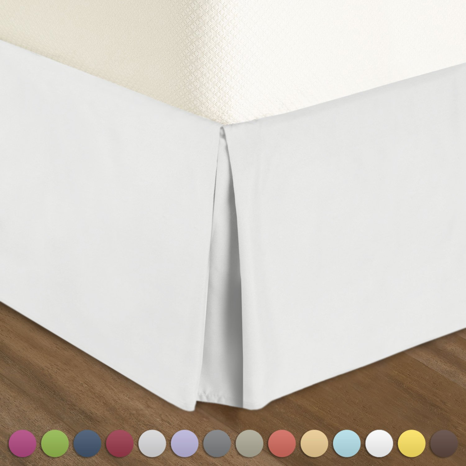"""Nestl Bedding Pleated Bed Skirt - Luxury Microfiber Dust Ruffle, 14"""" Tailored Drop, Queen, White"""